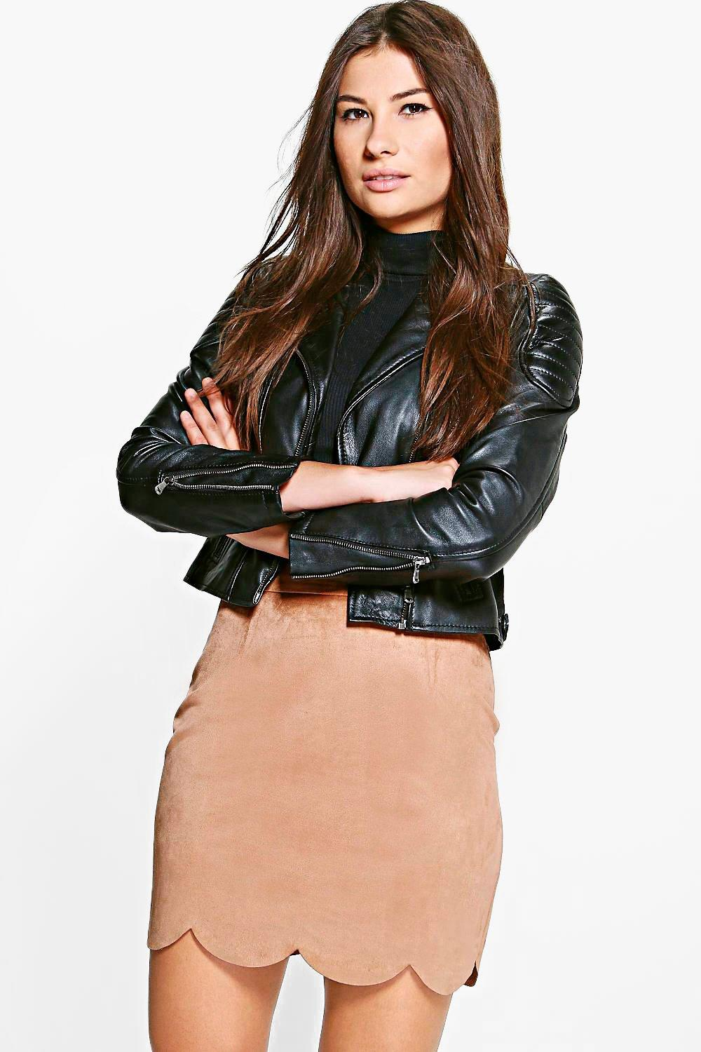 Scalloped Hem A Line Suedette Skirt stone