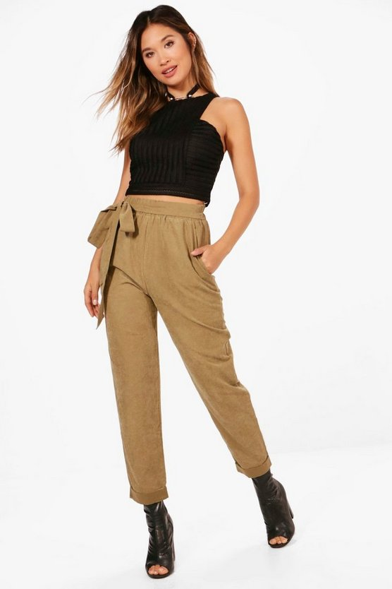 Soft Touch Tie Waist Turn Up Trousers