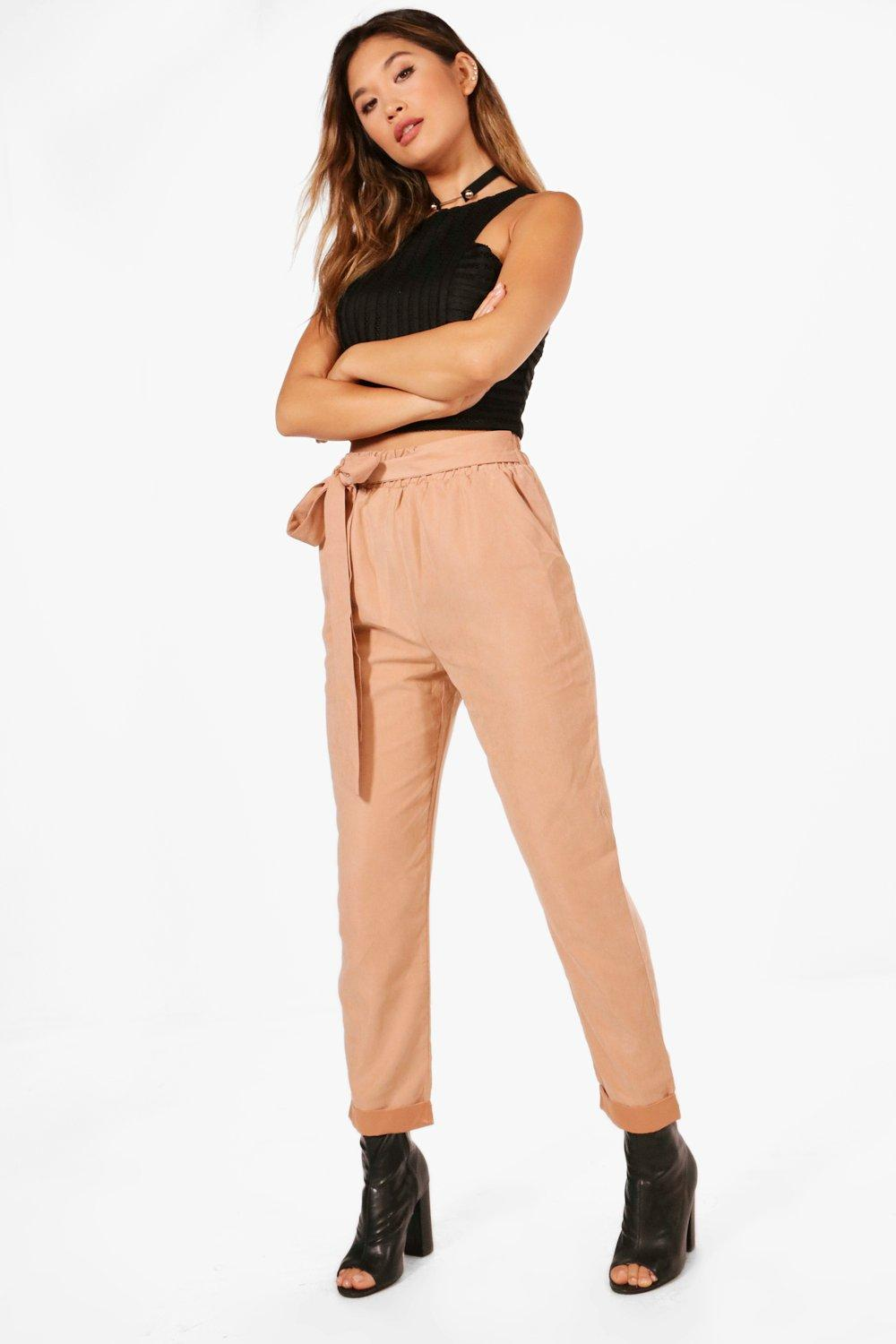 Soft Touch Tie Waist Turn Up Trousers sand