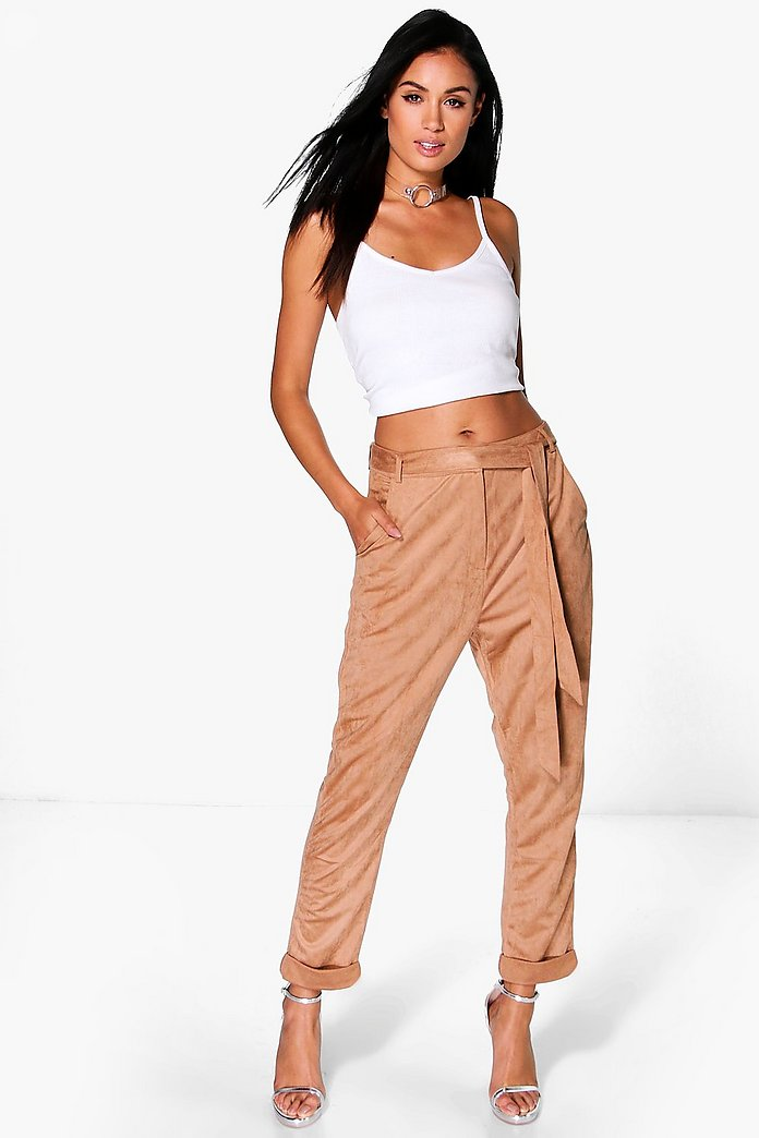 Naia Suedette Tie Waist Tailored Trousers