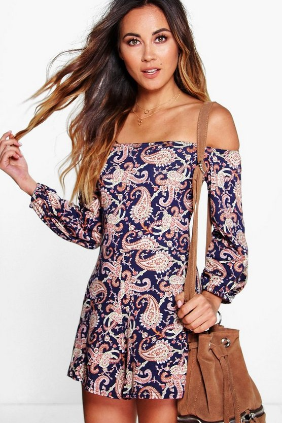 Off The Shoulder Paisley Print Playsuit