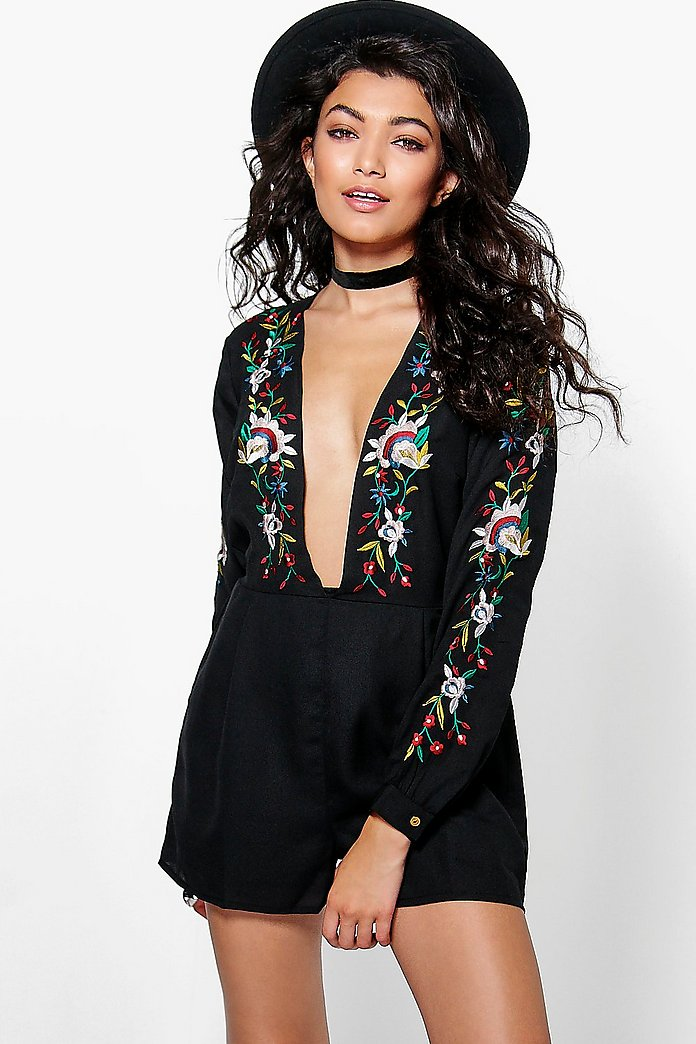 Emily Deep Plunge Embroidered Playsuit