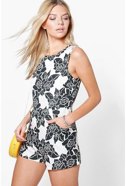 Sophie Floral Print Sleeveless Playsuit