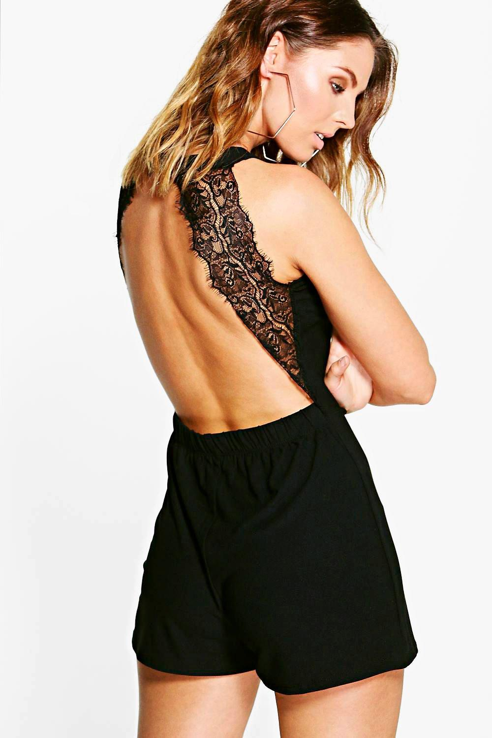 Kara Lace Back High Neck Playsuit