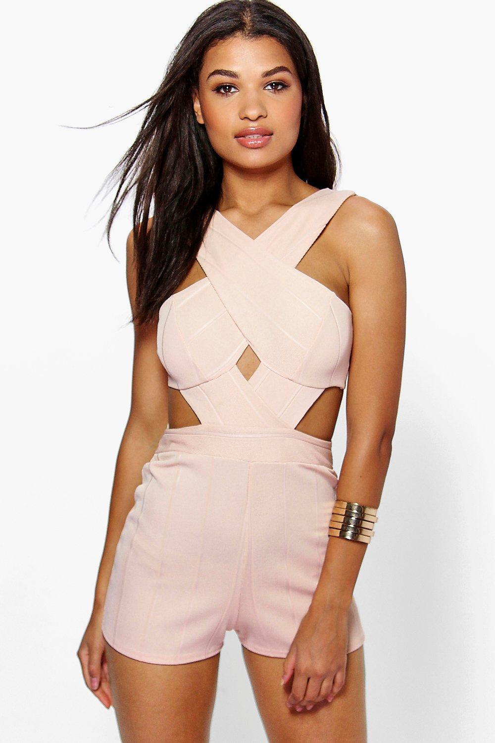 Jenny Cross Front Cut Out Side Bandage Playsuit