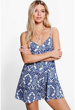 Kelly Porcelain Print Swing Playsuit