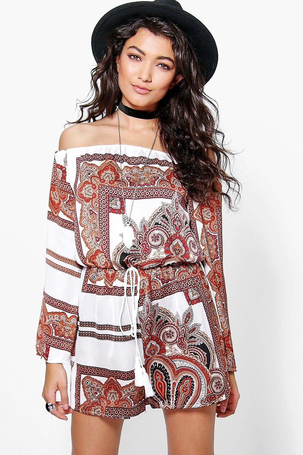 Ellie Off The Shoulder Paisley Playsuit