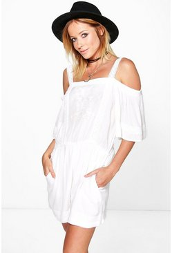Ola Off The Shoulder Crochet Trim Playsuit
