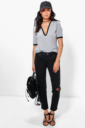 Milly Mid Rise Knee Rip Boyfriend Jeans