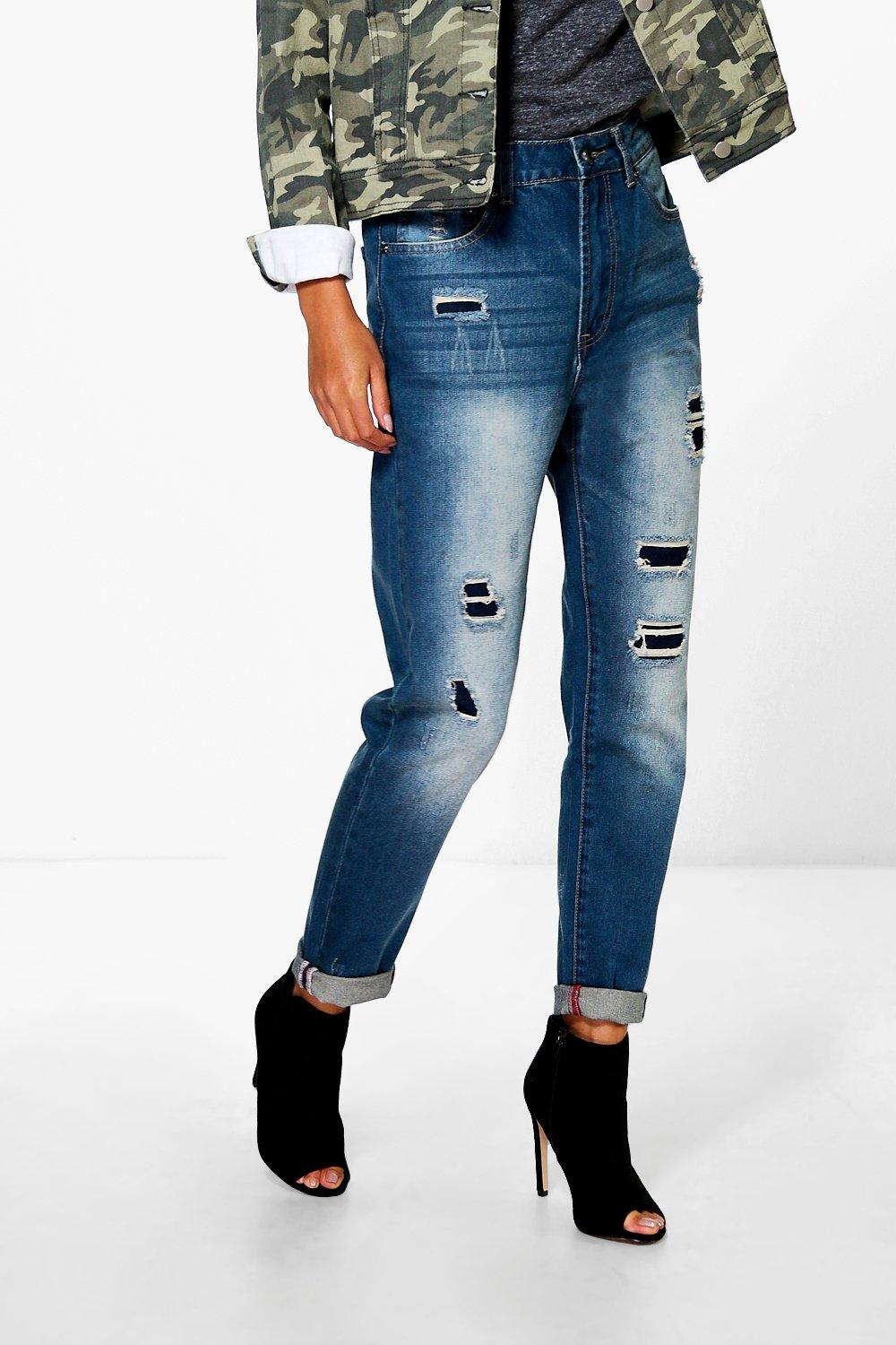 boohoo womens susie high rise distressed boyfriend jeans ebay. Black Bedroom Furniture Sets. Home Design Ideas
