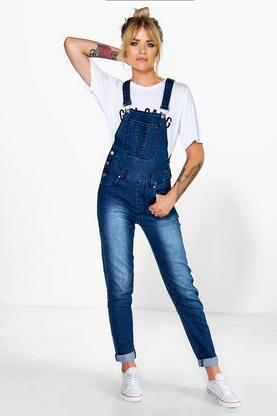 Angela Slim Fit Washed Blue Denim Dungarees