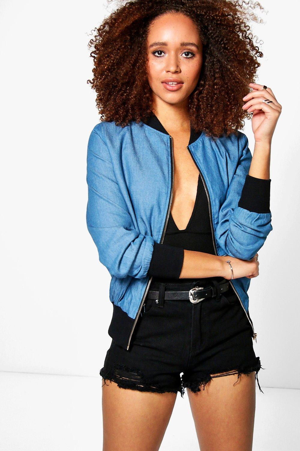 Goldie Denim Chambray Bomber Jacket