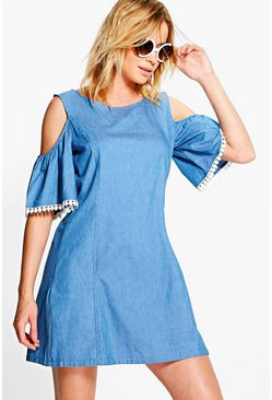 Amy Open Shoulder Chambray Trimmed Dress