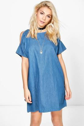 Evie Open Shoulder Denim Shift Dress