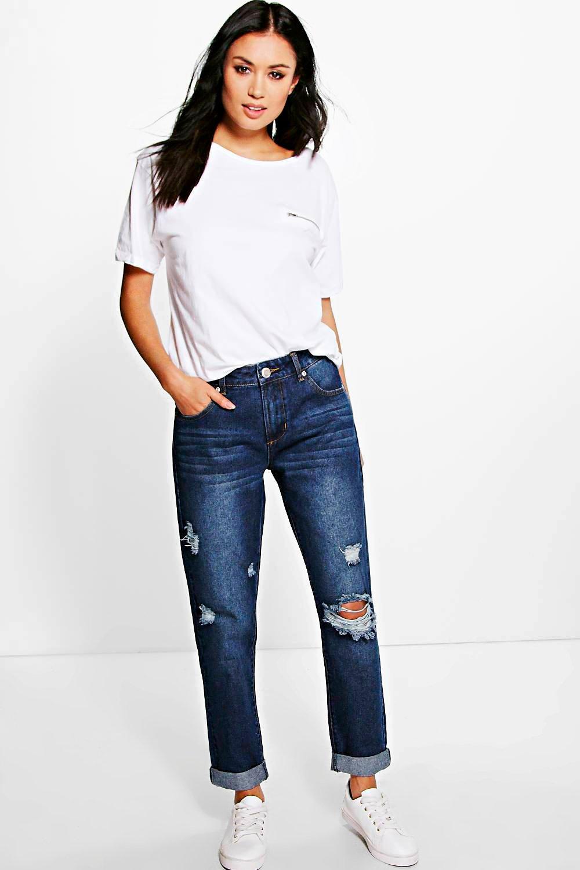 Mid Rise Knee Rip Boyfriend Jeans indigo