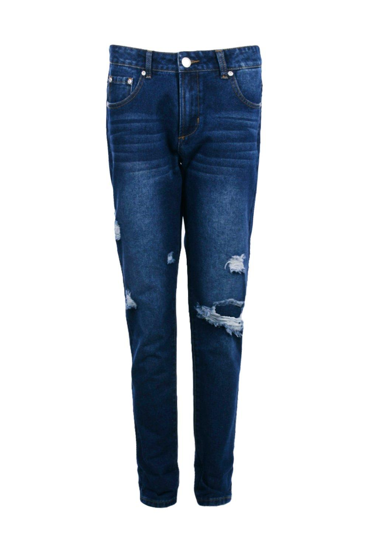 boohoo womens eleanor mid rise knee rip boyfriend jeans ebay. Black Bedroom Furniture Sets. Home Design Ideas