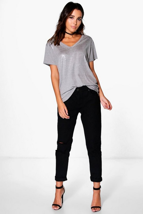 Mara Mid Rise Distressed Knee Boyfriend Jeans