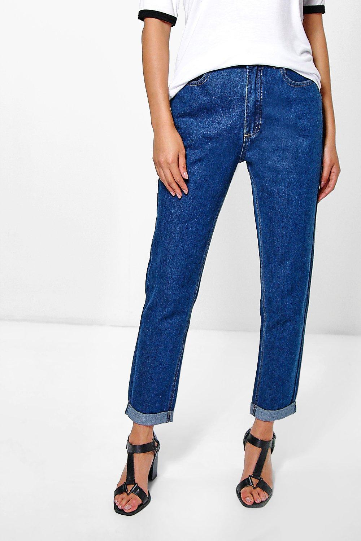 boohoo womens hatty high rise indigo boyfriend jeans ebay. Black Bedroom Furniture Sets. Home Design Ideas
