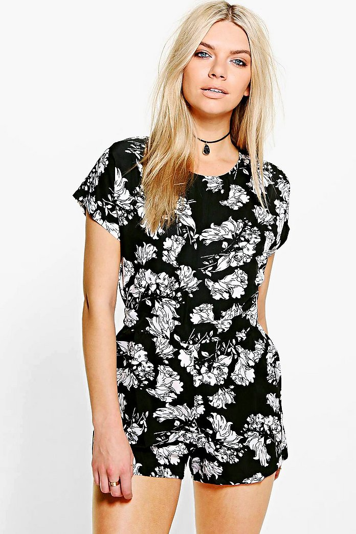 Faye Floral Print Capped Sleeve Playsuit