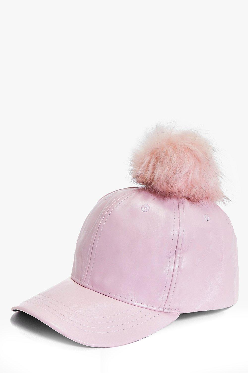 Tia PU And Faux Fur Pom Baseball Cap