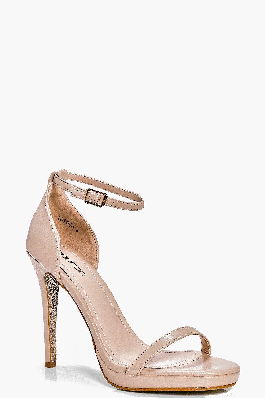 Platform Glitter Sole Sandal nude
