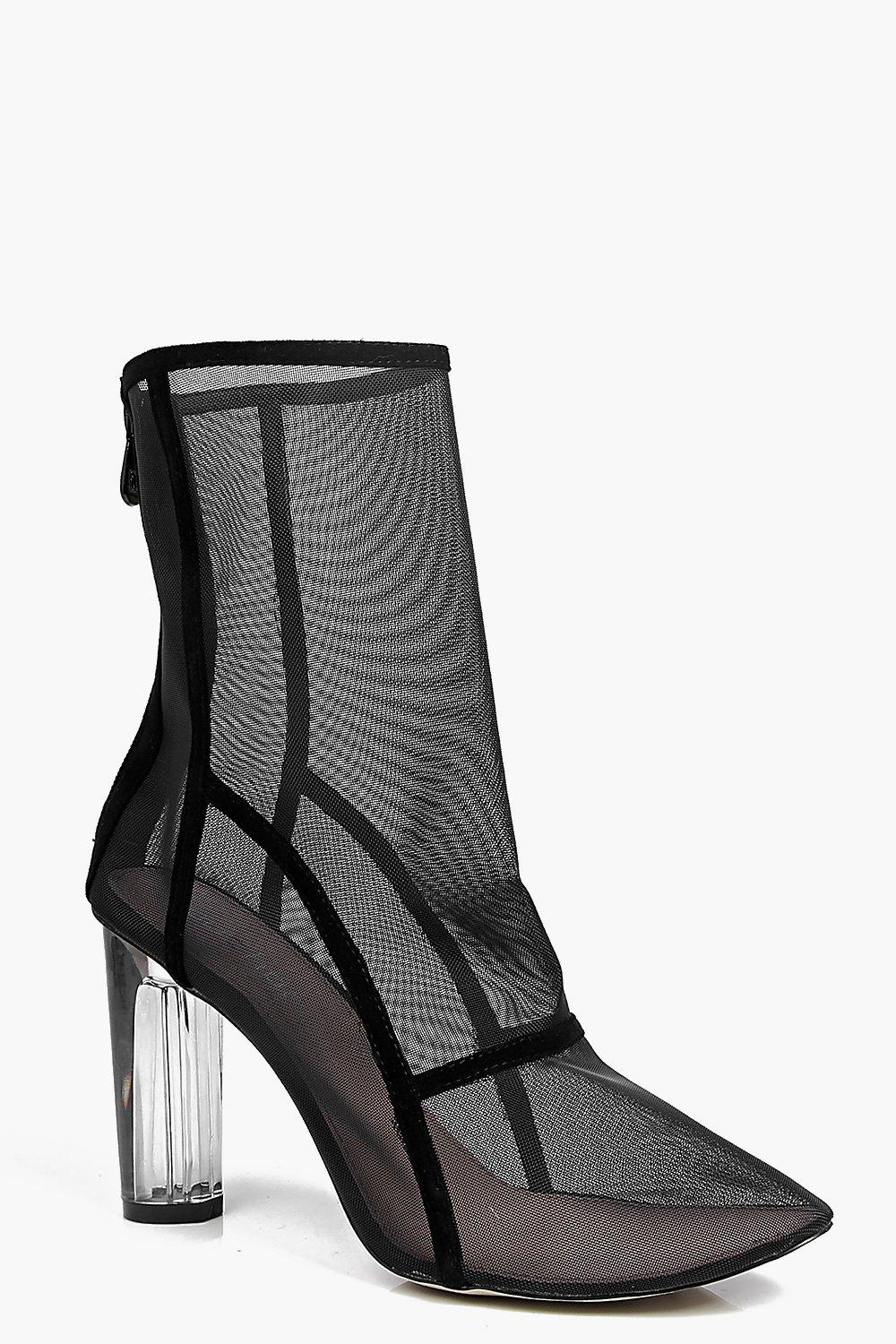 Clear Cylinder Mesh Sock Boot black