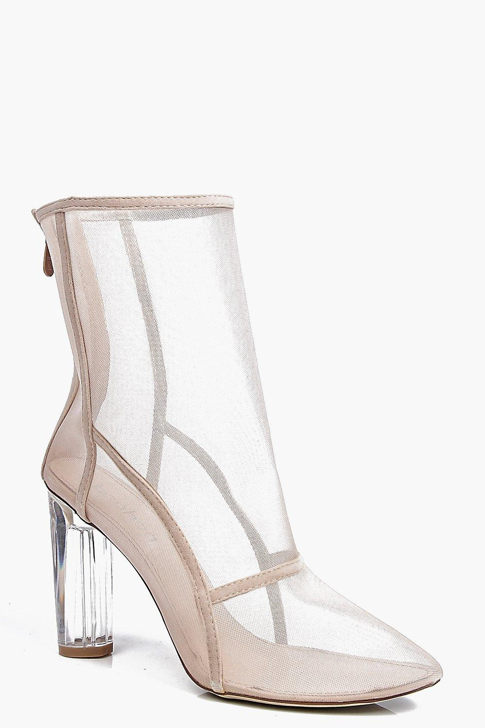 Clear Cylinder Mesh Sock Boot nude