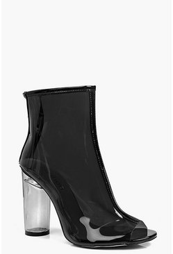 Lena Peeptoe Clear Heel Shoe Boot
