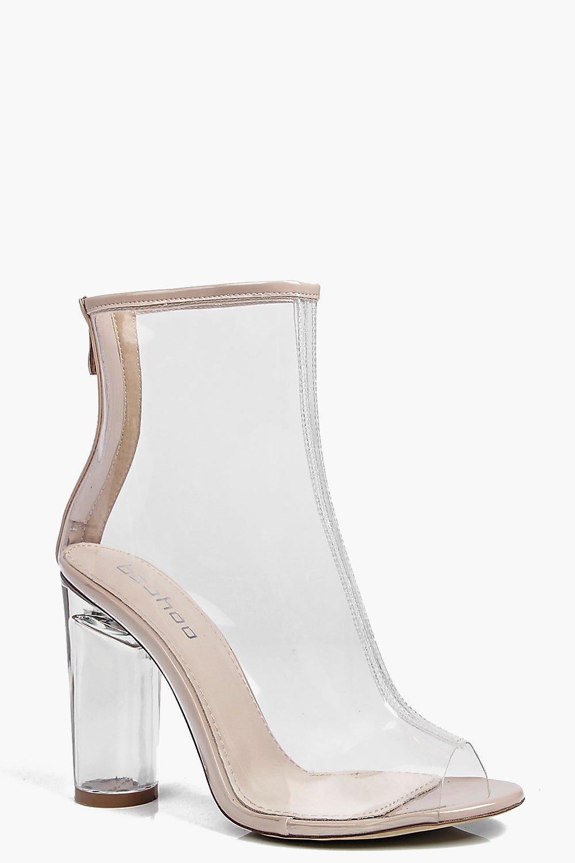 Peeptoe Clear Heel Shoe Boot nude