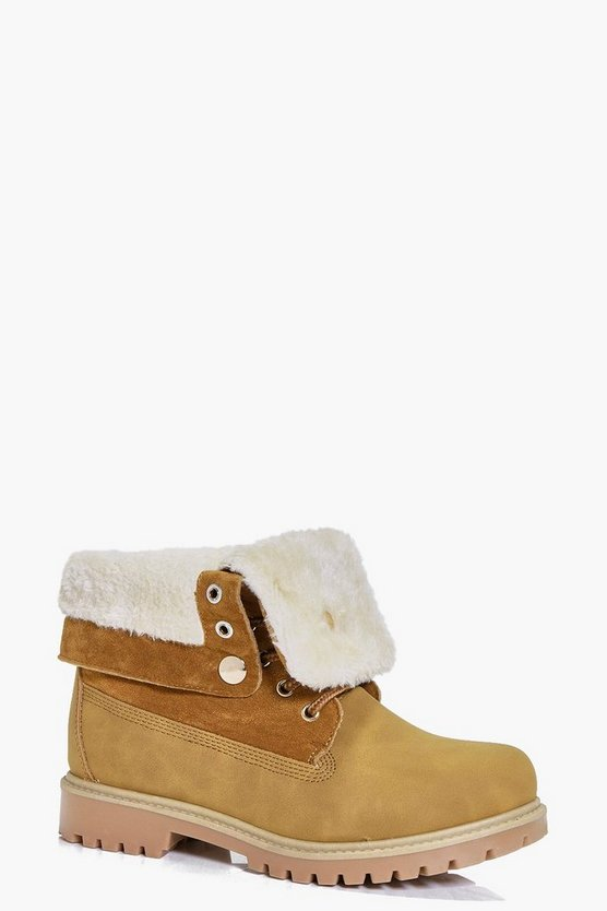 Rachel Fur Trim Collar Hiker Boot