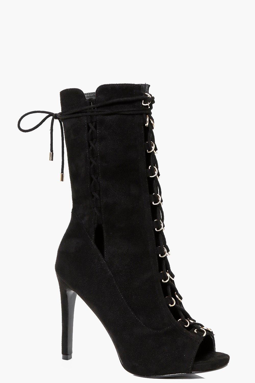 lucia peeptoe lace up calf shoe boot boohoo