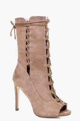 Lucia Peeptoe Lace Up Calf Shoe Boot