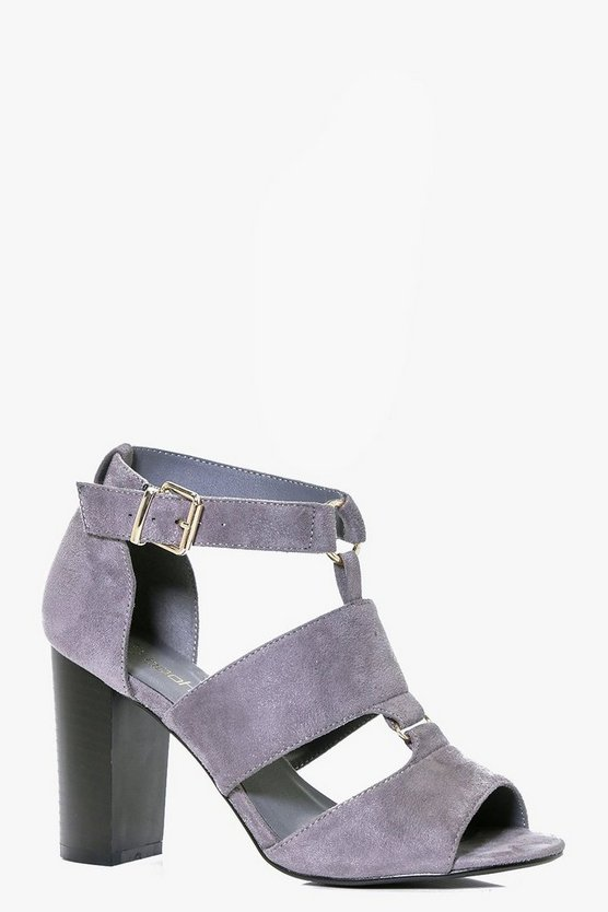 Tegan Peeptoe Cut Work Block Heel