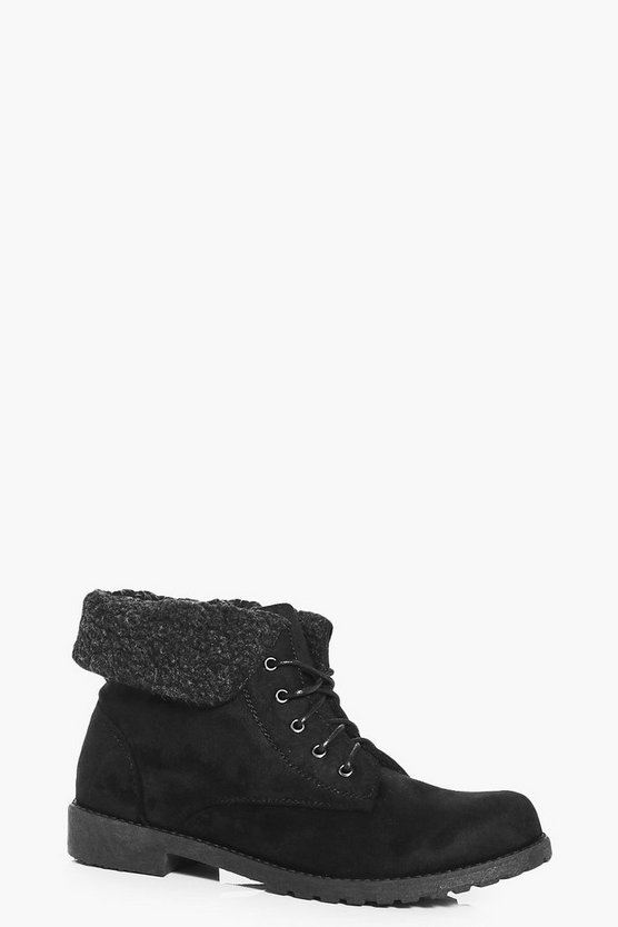 Melissa Knitted Fur Collar Hiker Boot