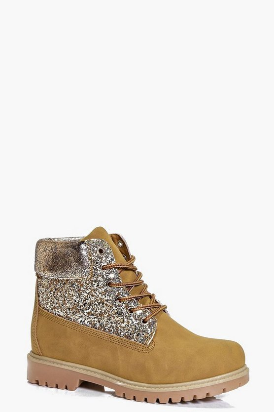 Frankie Glitter Panel Hiker Boot