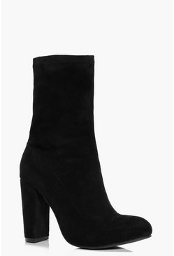 Annie Block Heel Sock Boot