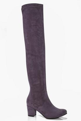 Lena Block Heel Stretch Knee High Boot
