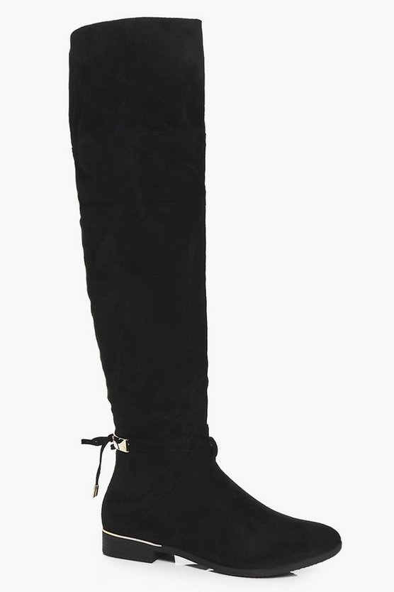 Tia Metallic Clip Back Knee High Flat Boot