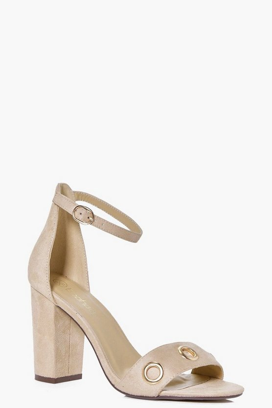 Frances Eyelet Trim Block Heel