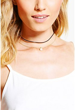 Iris PU And Delicate Pearl Layered Choker