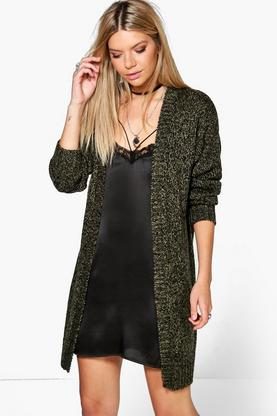 Mia Long Marl Edge To Edge Boyfriend Cardigan