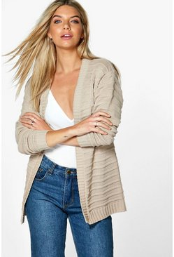Ava Ripple Stitch Edge To Edge Boyfriend Cardigan
