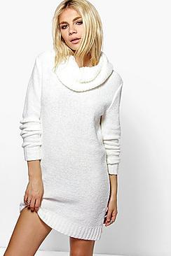 Tia Cowl Neck Boucle Soft Knit Jumper Dress