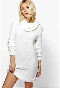 Tia Cowl Neck Boucle Soft Knit Jumper Dress