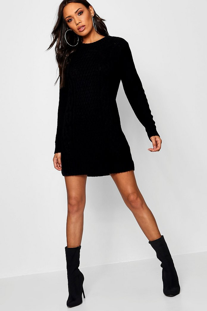 Lucy Cable Knit Soft Boucle Jumper Dress