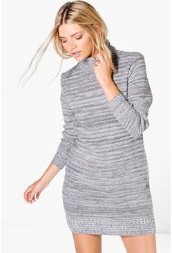 Lola Roll Neck Marl Jumper Dress
