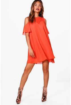 Coleen Lace Cold Shoulder Swing Dress