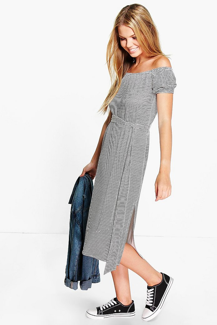 Aimee Stripe Off The Shoulder Tie Midi Dress
