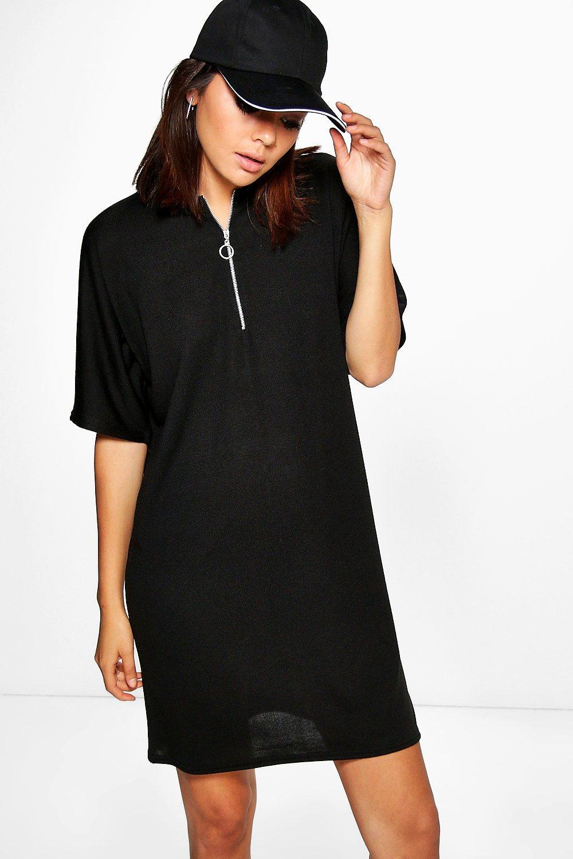 Zip Neck Marl Shift Dress - black