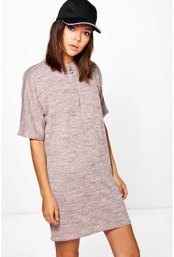 Ava Zip Neck Marl Shift Dress